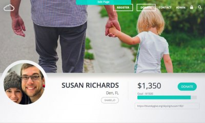 A desktop view shows a peer-to-peer fundraising webpage with a smiling young family, and the goal of $1,500 almost reached.
